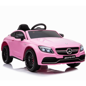 Licensed Mercedes-Benz C63 AMG 12V Kids Battery Ride On Car - Pink - EpicStuff
