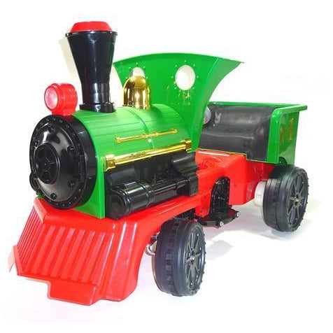 Ride on Kids Electric 12v Battery Powered Play Train Engine Green + Carriage - EpicStuff