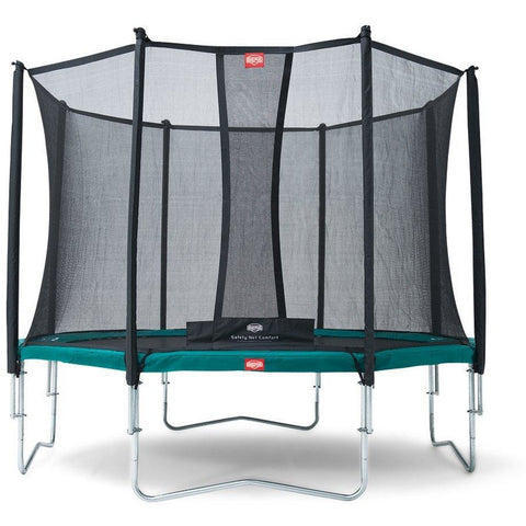 BERG Favorit Trampoline - Green + Safety Net Comfort - EpicStuff