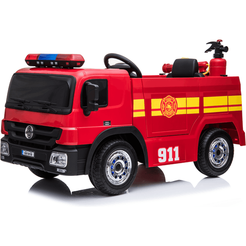 12V Children's Twin Motor Ride On Fire Engine with Accessories - EpicStuff