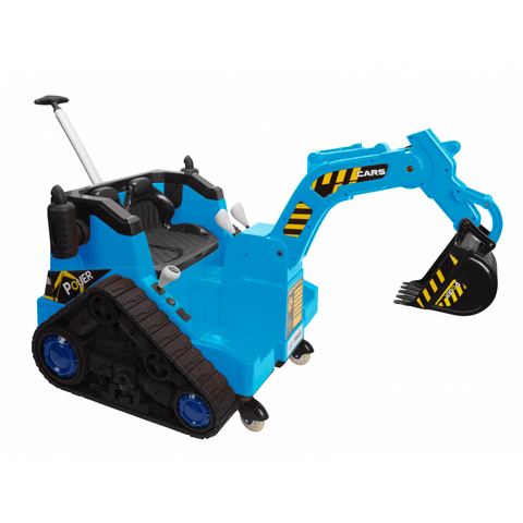 Battery Operated Ride On Digger With 360 Degree Spin And Working Bucket - Blue - EpicStuff