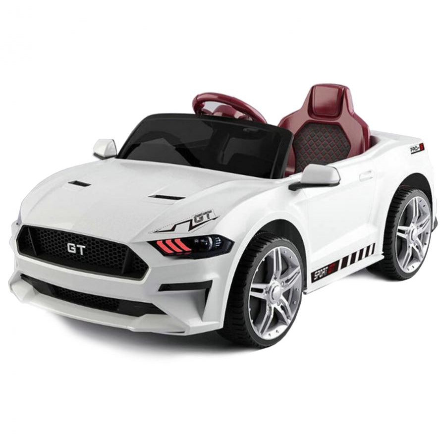12V Ford Mustang GT Style Ride on Sports Car - White - EpicStuff
