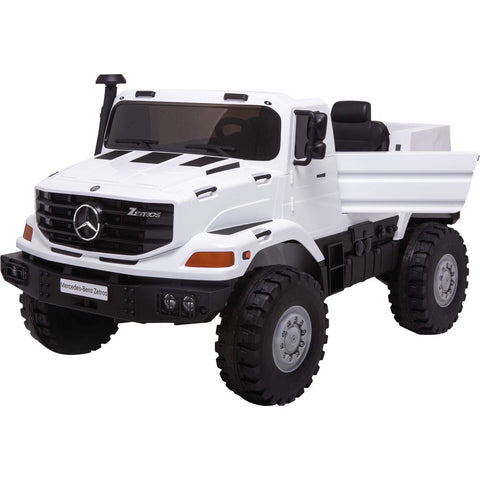 Licensed Mercedes-Benz Zetros Unimog 2 Seater 12V Ride-on Truck - White - EpicStuff