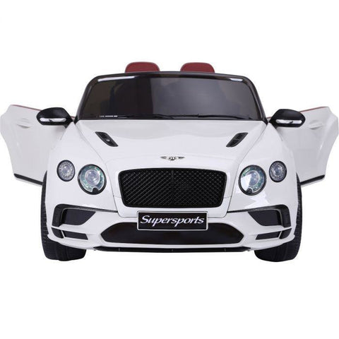 Licensed Bentley Continental Supersports 12V Ride On Children's Electric Car - White - EpicStuff