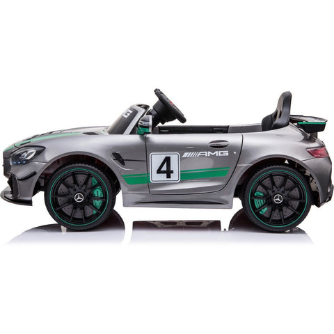 Licensed Mercedes-Benz GT4 Sports Edition 12V Childrens Ride On Car - With EVA - Silver - EpicStuff