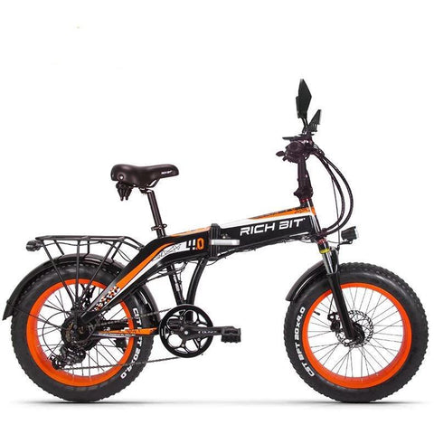 RICHBIT RT-016 500W 48V 20 inch Fat Tire Folding Electric Bike - Orange - EpicStuff
