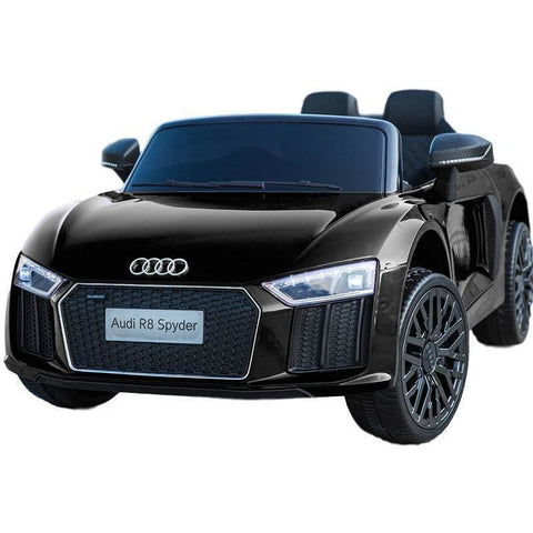Audi R8 Spyder 12v Licensed Kids Battery Ride On Car - Leather Seats - Black - EpicStuff