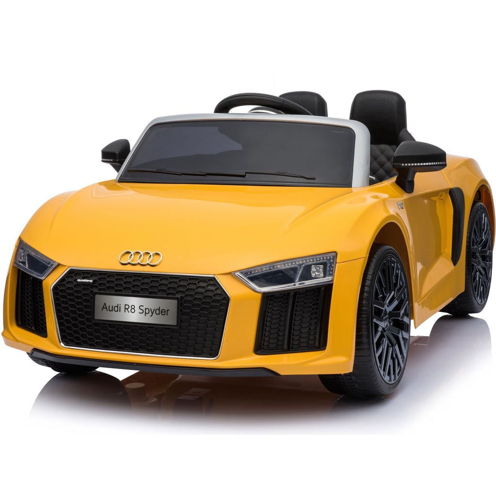 New Shape Licensed Audi R8 Spyder 12V Children's Electric Ride On Toy Car - Yellow - EpicStuff