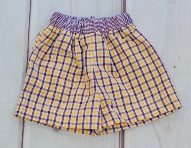 Purple & Gold Plaid Shorts