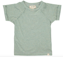 Raglan Tee- Green & Grey Stripe