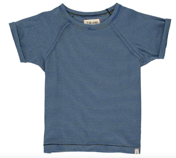 Raglan Tee- Blue & Yellow Stripe
