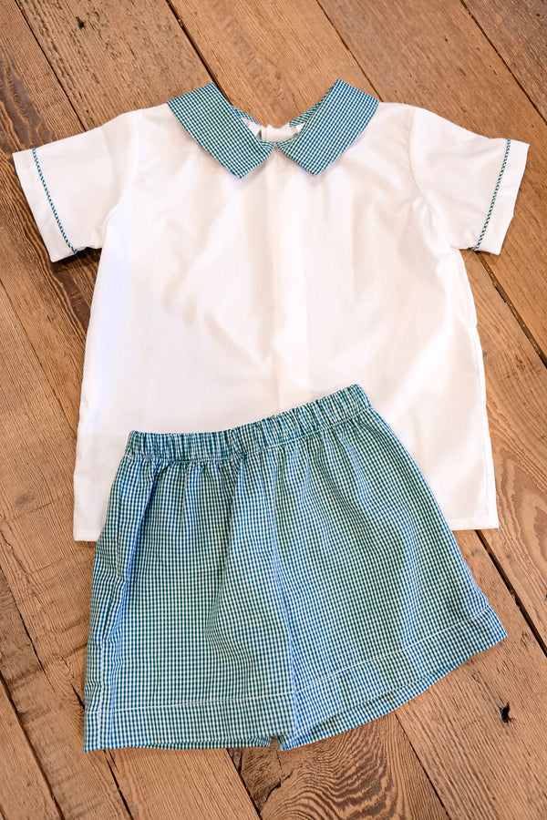 Green Gingham Short Set
