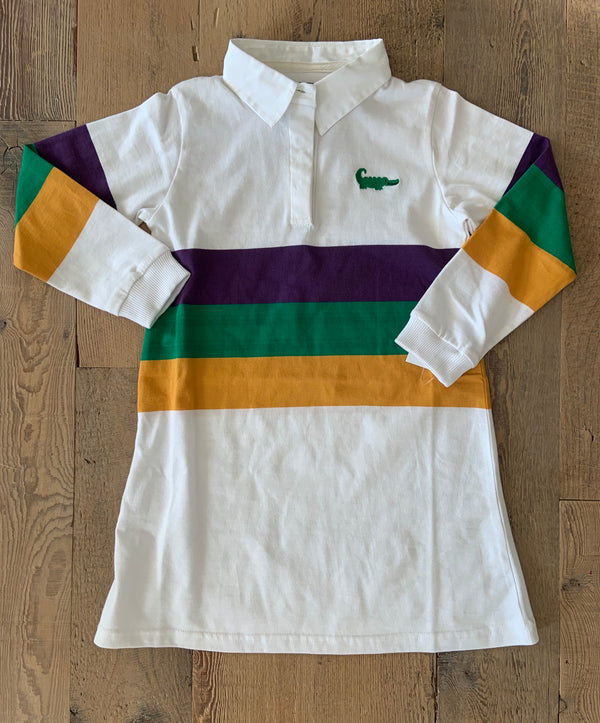 Mardi Gras Rugby Long Sleeve A line Dress