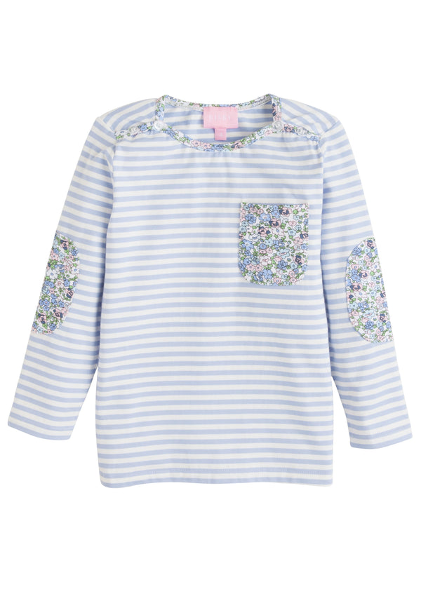 Breton Top- Blue Stripe/ Blue Floral