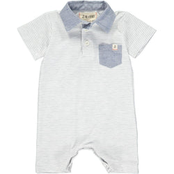 Chambray Pocket Polo Romper
