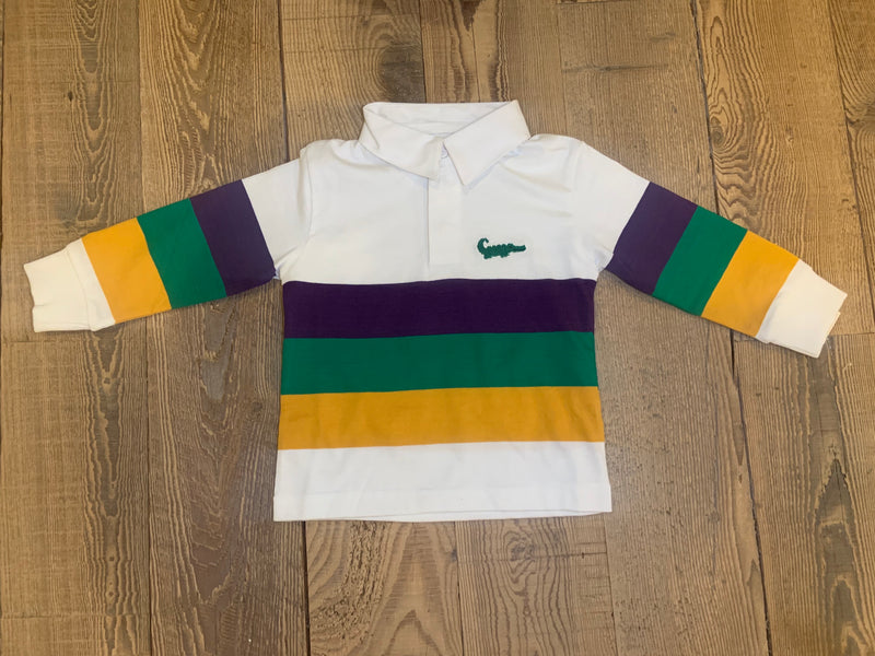 Mardi Gras Rugby Long Sleeve Polo