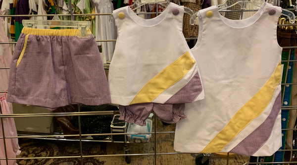 Purple & Gold Cheer Stripe Bloomer Set