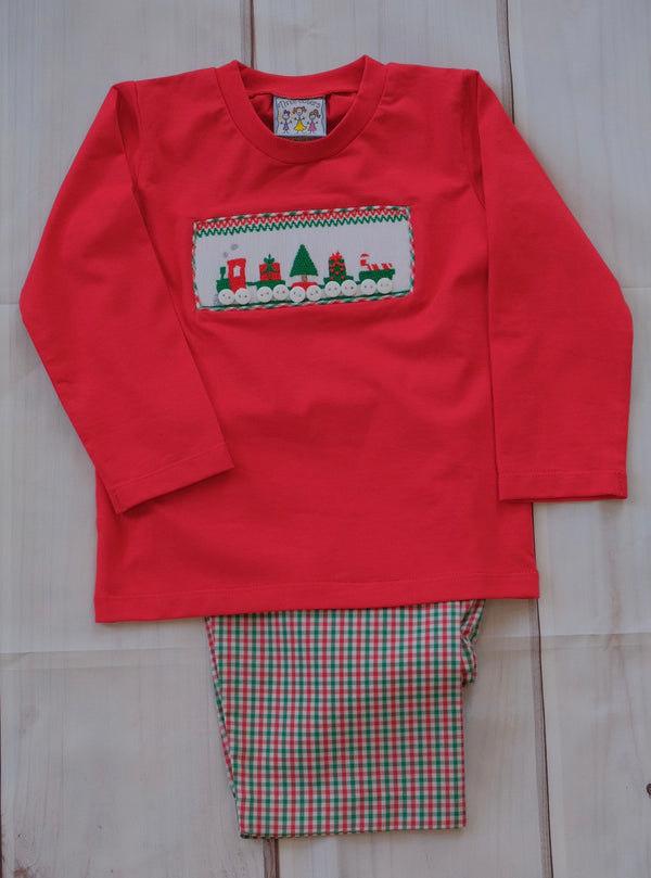Christmas Train Smocked Pant Set