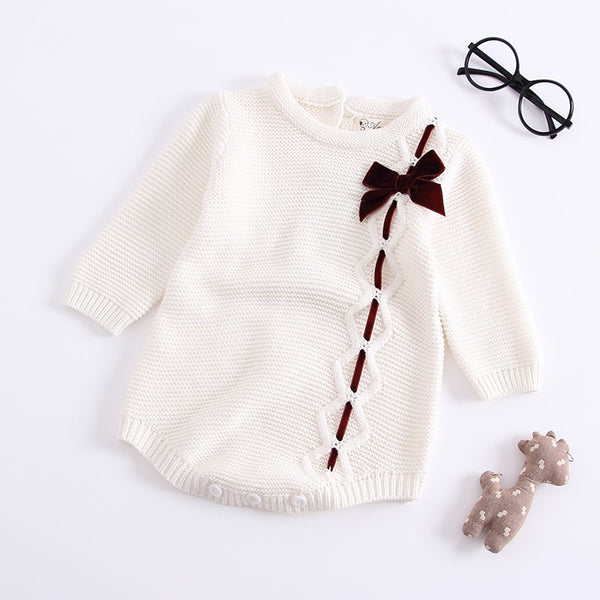 Bow Knot Sweater Romper