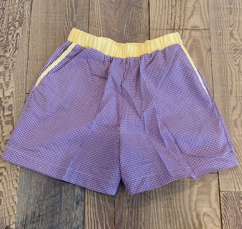Purple Gingham Shorts