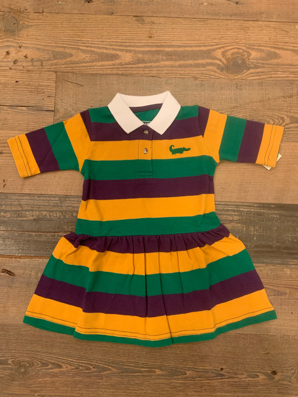 Mardi Gras Rugby Traditional 3/4 Drop Waist Dress