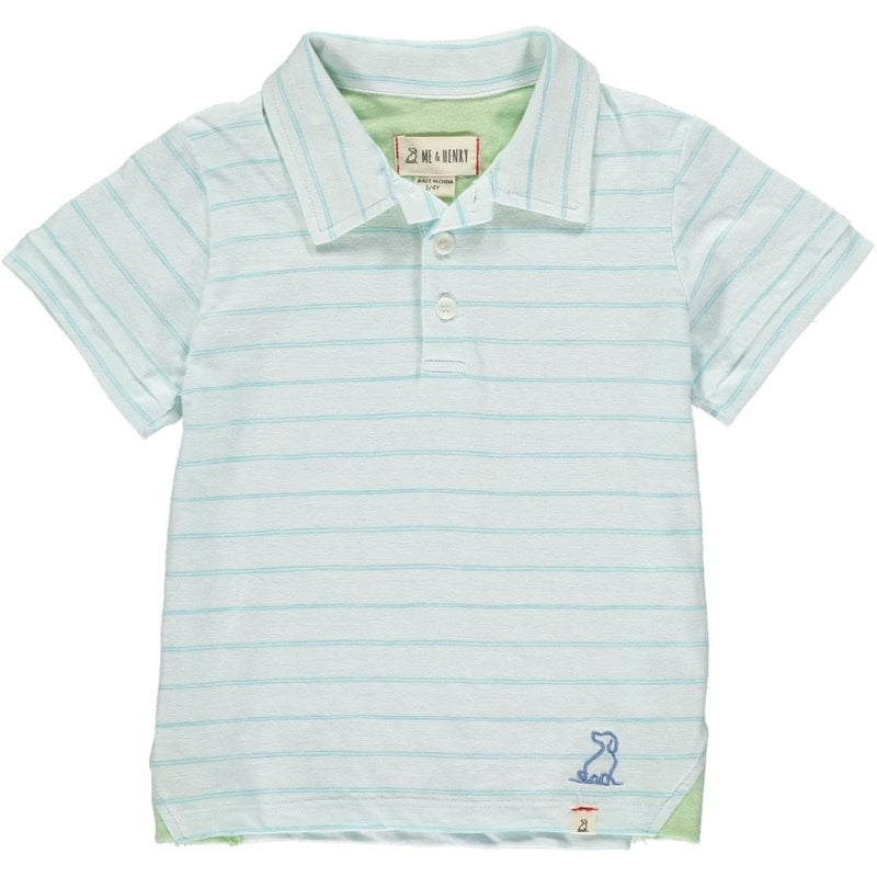 Aqua Striped Polo