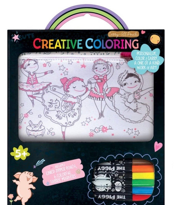Creative Coloring: Carry All Pouch- Pretty Ballerinas