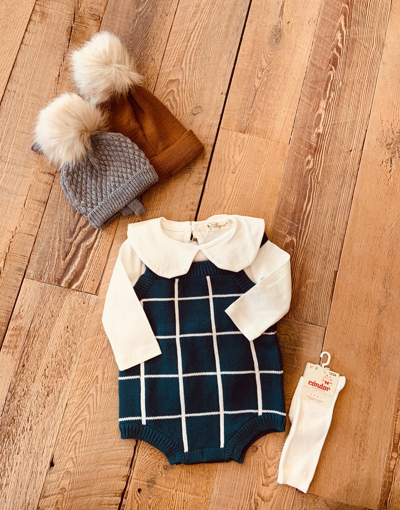 Windowpane Sweater Romper
