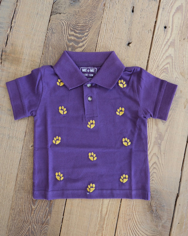 Purple Paw Print Polo