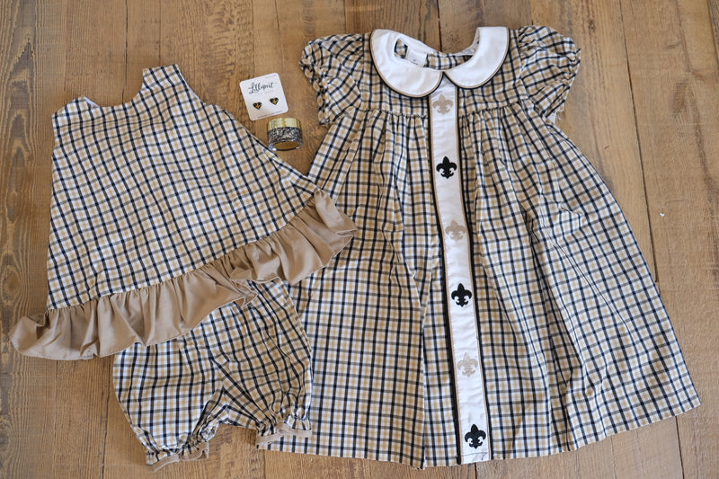 Black & Gold Plaid Bloomer Set