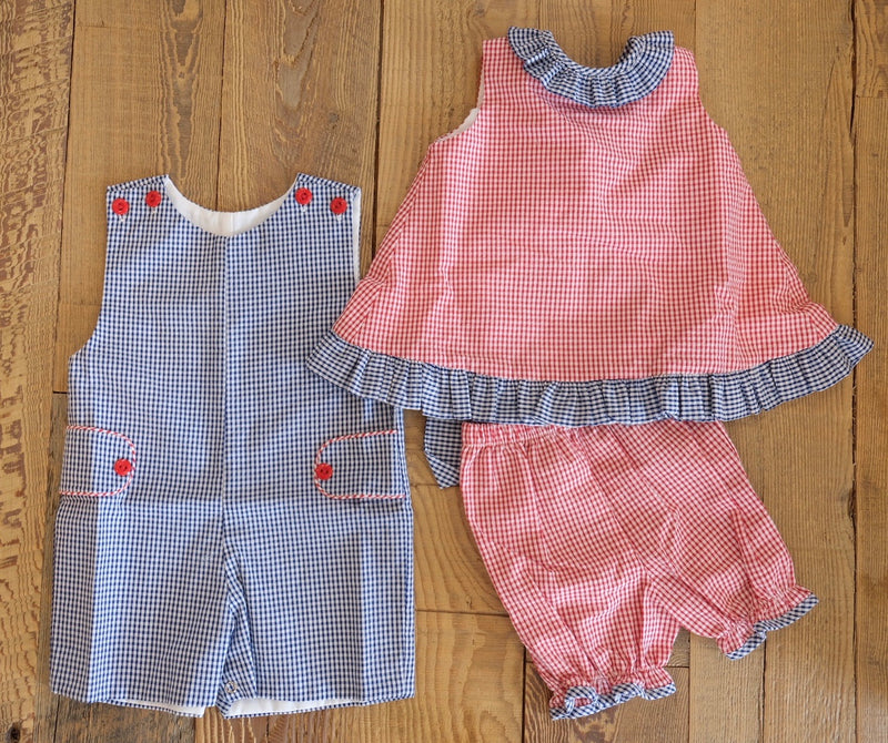 Bloomer Set - Red & Blue