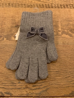 Knit Gloves with Velvet Bow