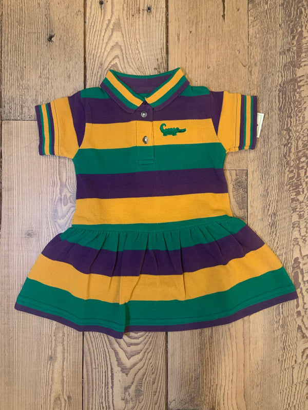 Mardi Gras Rugby Short Sleeve Drop Waist Dress