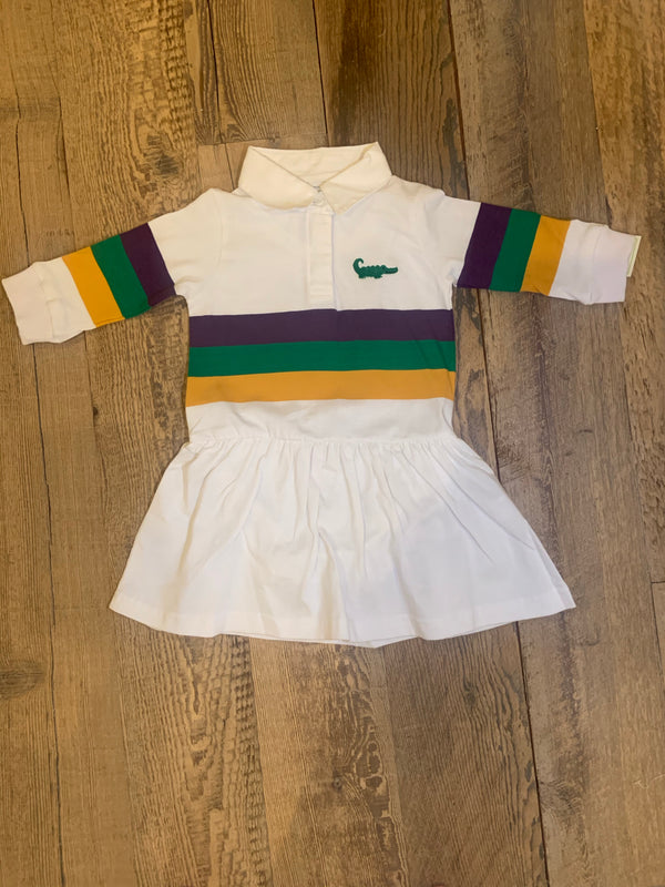 Mardi Gras Rugby Long Sleeve Drop Waist Dress