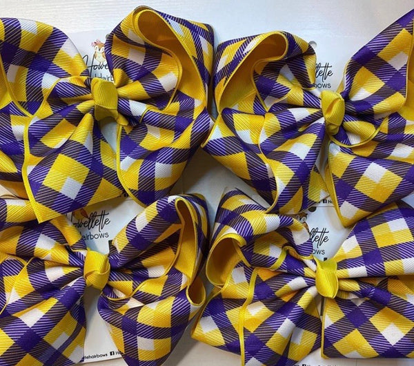 Geaux Plaid Bow