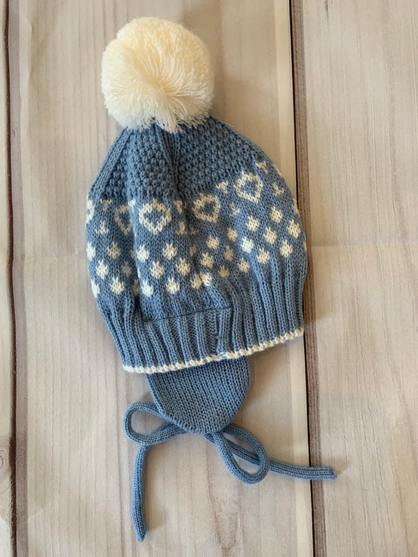 Printed Beanie with Pom