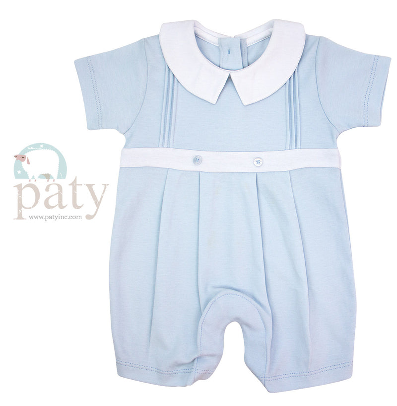 Blue Pleated Shortall