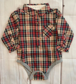 Teal & Red Plaid Woven Onesie