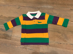 Mardi Gras Rugby Traditional Stripe Long Sleeve Polo