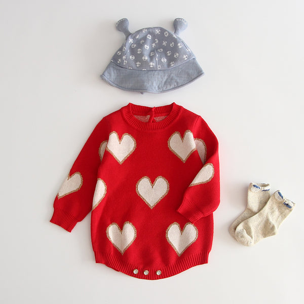 Heart Sweater Romper