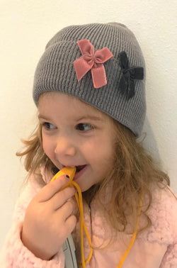 Beanie with Glitter Bows