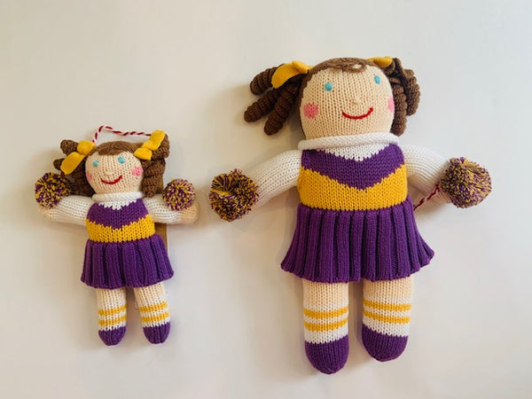 Purple Cheerleader & Football Player Doll & Rattle