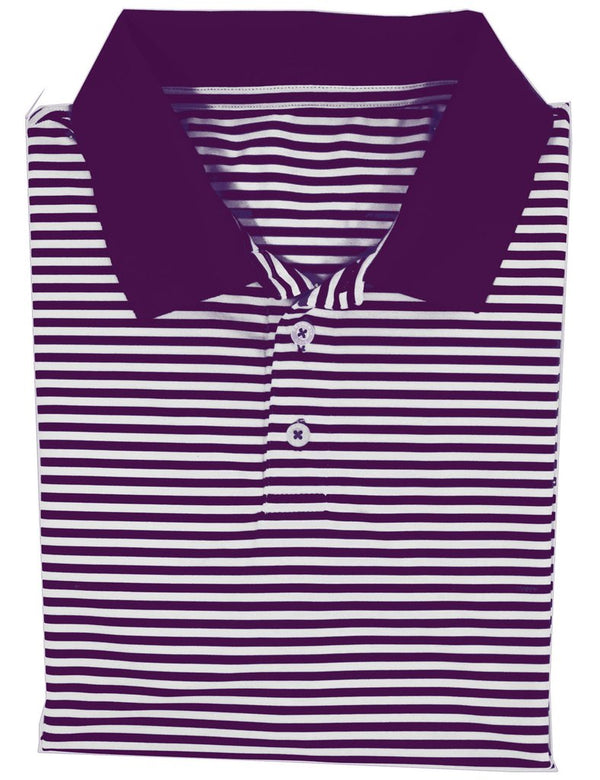 Game Day Striped Polo- Purple