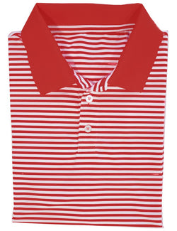 Game Day Striped Polo- Red