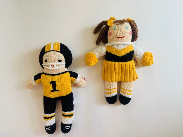 Gold Cheerleader & Football Player Doll & Rattle