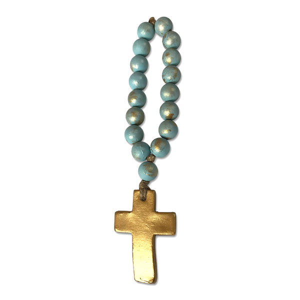Small Prayer Bead Straight Cross