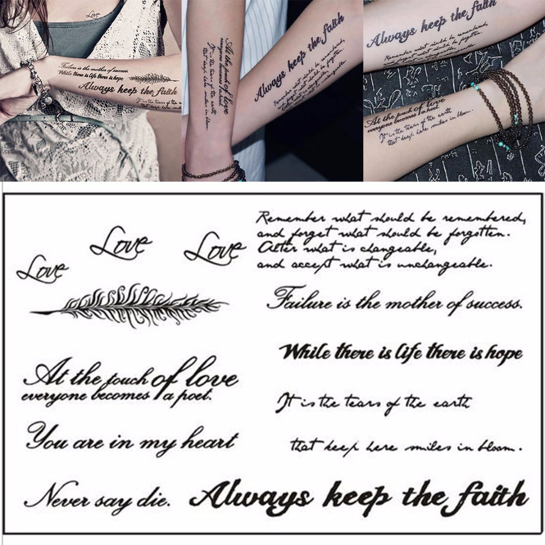 English Words & Quotes Temporary Tattoo Sheet