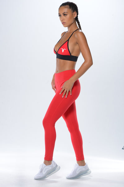 Cross Back Plunge Sports Bra - Red