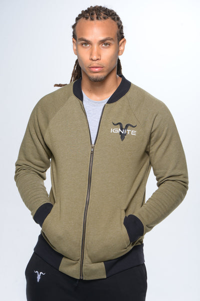 Bomber Jacket Military Green with Black Logo