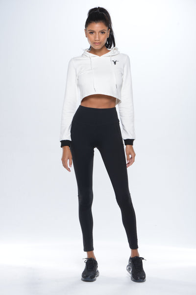 Super cropped hoodie- White